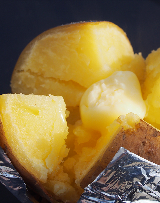 Experience new potatoes topped with handmade butter