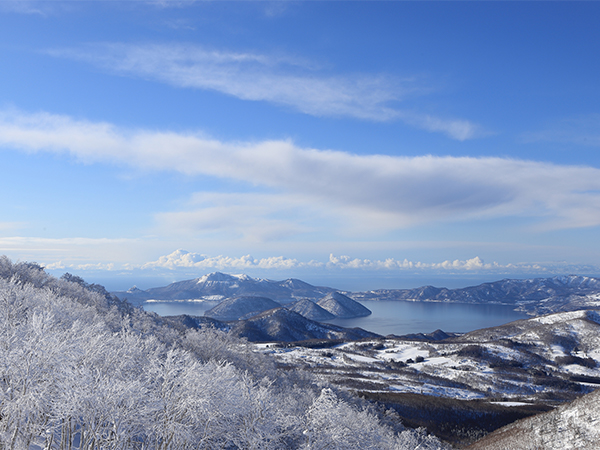 Summit of Mt. Isola - view of Lake Toya