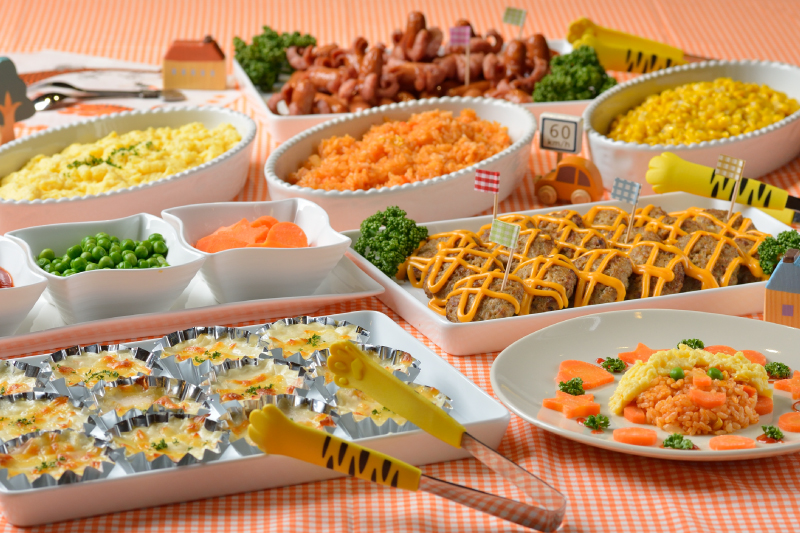 Buffet menu with plenty of choices for kids