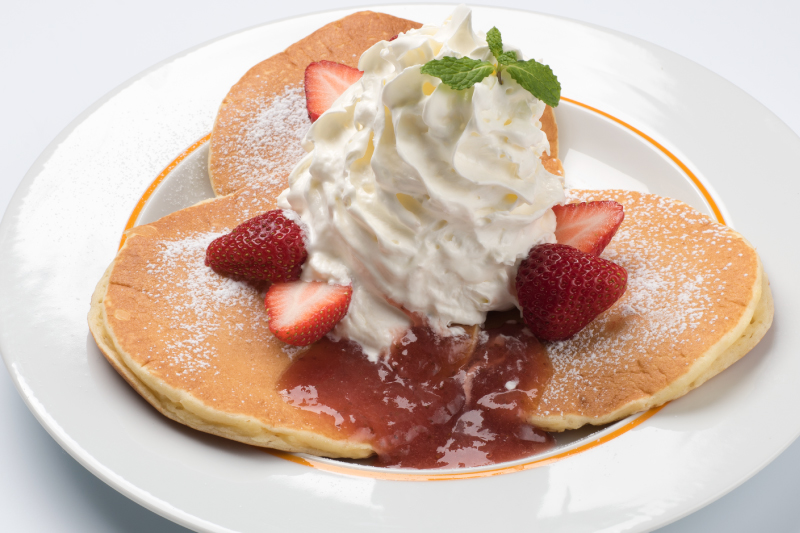 There's an extensive sweets menu with items like pancakes and parfaits