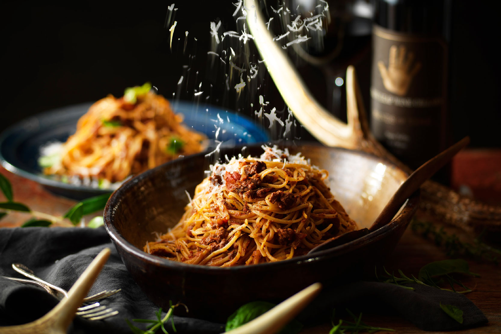 エゾ鹿肉と牛肉のボロネーゼ スパゲッティ