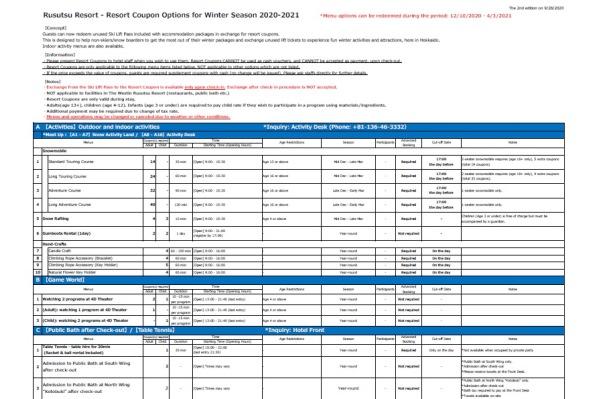[Rusutsu Resort Hotel & Convention] Resort Coupon Options for Winter Season 2020-21