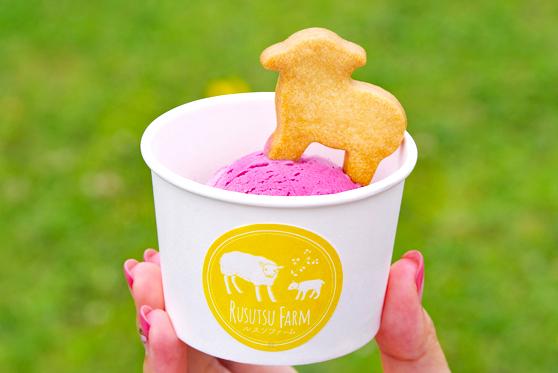 Aronia Ice Cream with Cute Sheep Cookies